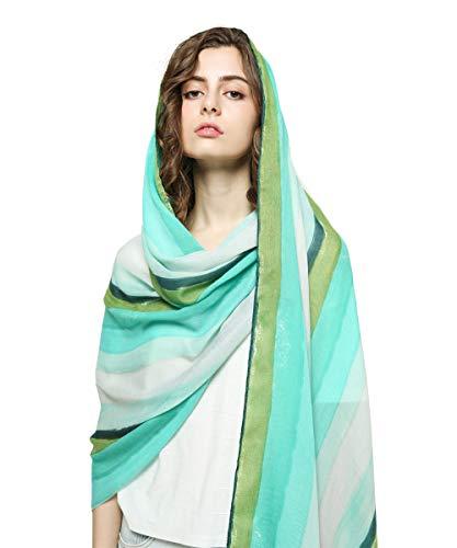 (Rainbow Stripe Print Women Scarf Colorful Soft Cotton Shawl Wraps Lightweight Beach Sunscreen Scarves Large)