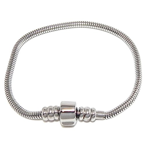 ' the Forever Bracelet' Stainless Steel Starter Charm Bracelet Barrel Snap Clasp for Adults & Kids Fits European Style Beads (8.5 inches)