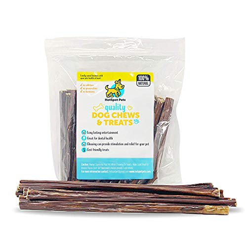 Hot Dog Jerky - Beef Gullet Sticks-Jerky Treats for Dogs by Hotspot Pets| Promotes Healthy Joints| 100% All Natural Hollow Beef Chews for Dogs Made from Free-Range, Grass-Fed Cows| (6 Inch - 20 Pack)