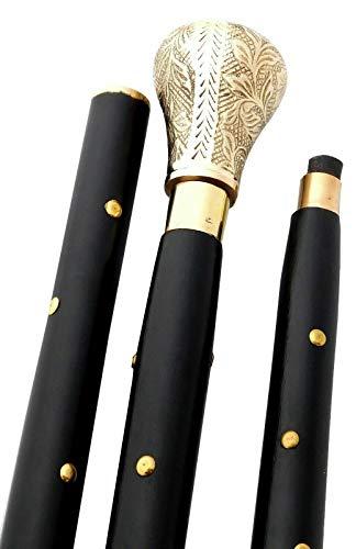 Antique Ornate Brass - Design Antique Walking Stick Cane Nautical Brass Victorian Handle Ornate