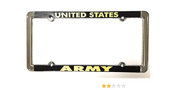 License plate frame United States ARMY Chrome Raised Yellow Letters on Black Ramson/'s Imports MF1038ARM