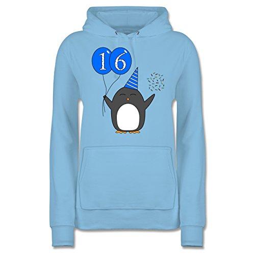 Geburtstag Geschenk für Frauen - 16.Geburtstag - Blau - Pinguin - Ballon - Konfetti - Sweet - JH001F - Frauen Damen Premium Kapuzenpullover Kapuzenpulli Hoodie Hooded Sweat Hellblau y86abw2