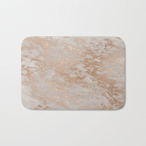 Rose Gold Copper Glitter Metal Foil Style Marble Rectangle Front Welcome Door Mat Outdoor Indoor Entrance Doormat Durable Heat-resisting Non-slip Rug Size (Gold Door Mat)