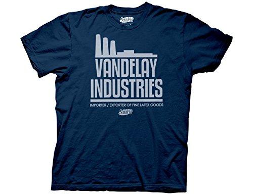 Ripple Junction Seinfeld Adult Unisex Vandelay Industries Heavy Weight 100% Cotton Crew T-Shirt SM Navy (Seinfeld Elaine)