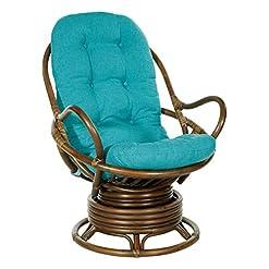 Living Room Office Star Kauai Rattan Swivel Rocker Chair, Brown Frame with Blue Fabric