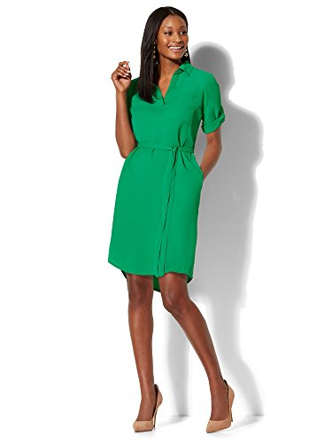 New York & Co. Women's Belted Soft Shirtdress Xsmall Glamour Green (Glamour Belted Belt)