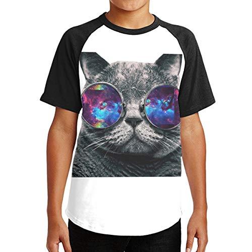 Hhyingb Cool and Cat Teenagers Fashion Short Sleeve T-Shirt S Black