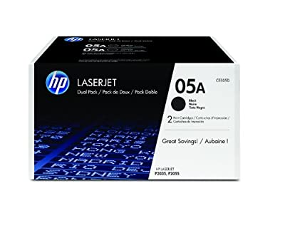 HP 05A (CE505D) Black Original LaserJet Toner Cartridges, 2 pack