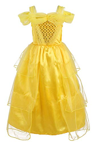 Girls Princess Belle Yellow Party Dress Costume(Yellow 7 -