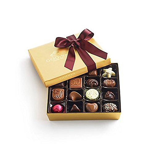 Godiva Chocolatier Assorted Chocolate Gold Gift Box, Wine Ribbon, 19 pc. ()