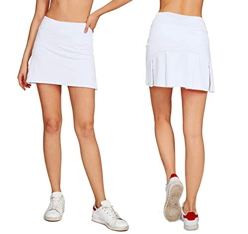 Cityoung Women's Casual Pleated Tennis Golf Skirt with Underneath Shorts Running Skorts wh l