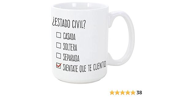 MUGFFINS Tazas Desayuno Originales y Divertidas - ¿Estado Civil? - 350 ml - Tazas con Frases de Humor sarcástico: Amazon.es: Hogar