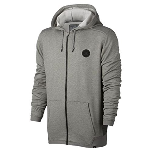 Hurley Sweatshirt Mens (Hurley Men's Dri-FIT Disperse Full Zip Hoodie Sweatshirt (Small, Heather Grey))