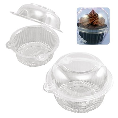 100pcs Clear Plastic Cupcake Cake Muffin Case Dome Holder Box Container