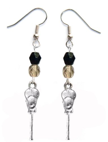 ''Lacrosse Stick & Ball'' Lacrosse Earrings (Team Colors Black & Grey) by Edge Sports