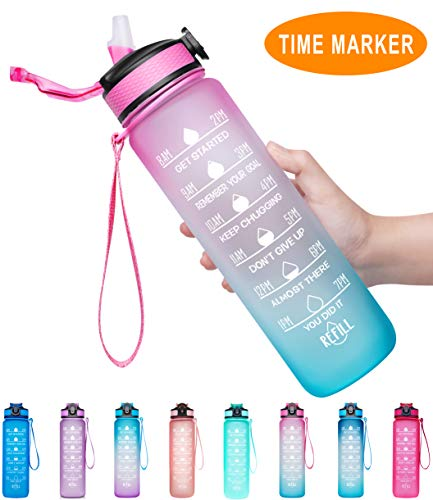Pink Water Bottles with Times to Drink 32oz Motivational Water Drinking Bottle BPA Free Non-Toxic Leakproof Reusable Bottle for Fitness Gym Camping Outdoor Sports