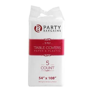 """Party Bargains Disposable Table Cover   Classic White Paper 3 Ply Premium & Elegant Plastic Table Covers - Size 54"""" X 108""""   Pack of 5"""
