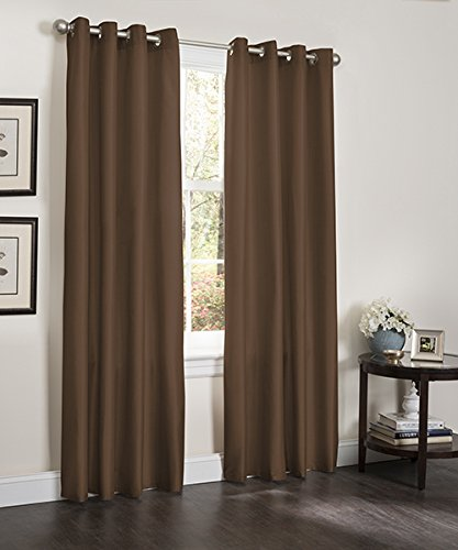 Blackout Window Curtain, 55″ X 90″, Faux Silk Thermal Insulated Grommet Top, Lined Heavy Thick Panel, 1 Panel (Chocolate)