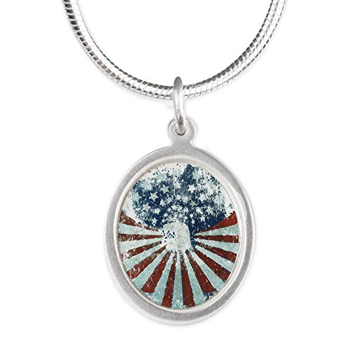 (Silver Oval Necklace US Flag Eagle Military American Pride)