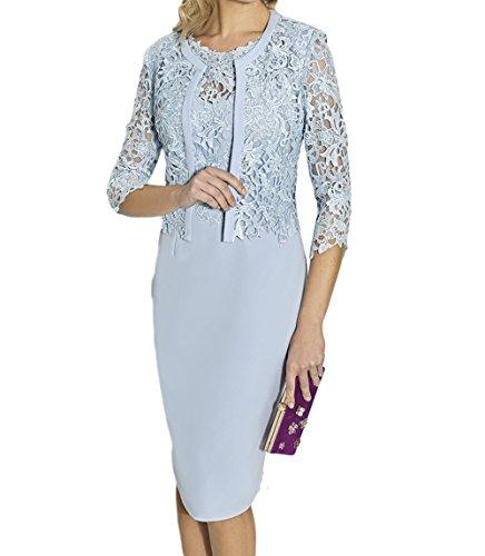 Blau mit Partykleider Pink Brautmutterkleider Bolero Knielang Hell Etuikleider Abendkleider Damen Charmant Spitze REPwqHpz