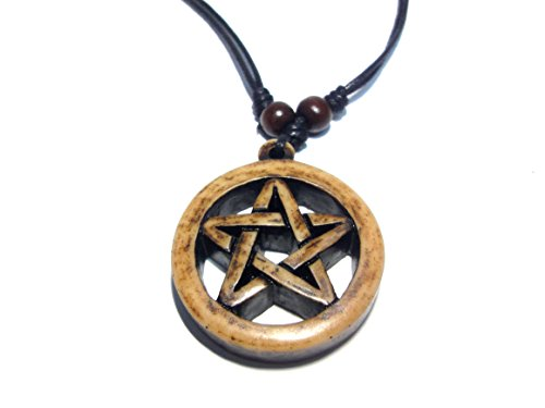 Triangle Pewter Stand (Powerful Inverted Pentacle Pentagram Star Pewter Pendant Necklace - Brown Resin Pendant Necklace)