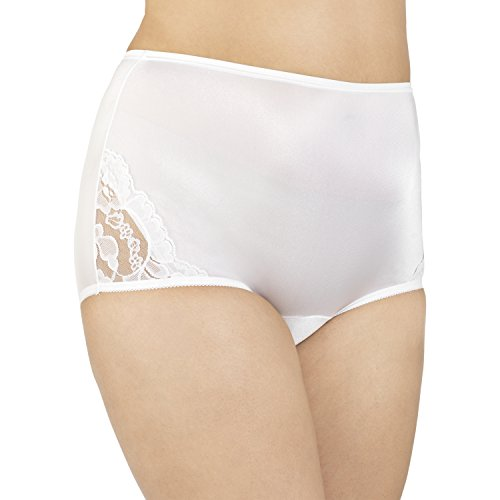 Vanity Fair Women's Plus Size Perfectly Yours Lace Nouveau Brief Panty 13001, Star White, - Aqua Brief Panty