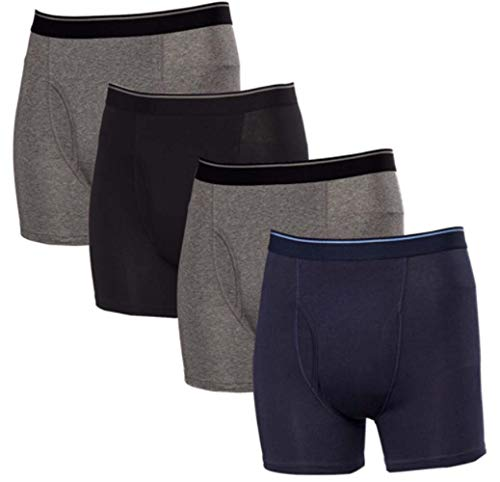 Kirkland Signature Men's Boxer Brief Pima Cotton 4 Pack (Assorted, Medium) ()