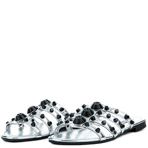 CAPE ROBBIN Women's Vintage Flat Studded Slipper Open Toe Slide Fashion Sandal (8, Silver) by CAPE ROBBIN (Image #4)