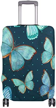 (ソレソレ)スーツケースカバー 防水 伸縮素材 キャリーカバー ラゲッジカバー 蝶 ちょう かわいい 可愛い 可愛い おしゃれ 防塵 旅行 出張 便利 S M L XLサイズ