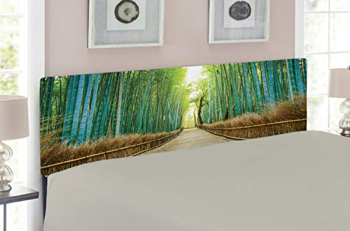Lunarable Bamboo Forest Headboard for Queen Size Bed, Panoramic View of Historic Landscape Nature Park in Japan, Upholstered Metal Headboard for Bedroom Decor, Turquoise Pale Brown Green ()