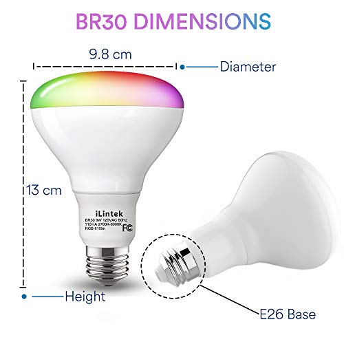 Smart Flood Light Bulb - Color Changing BR30 Flood Light Bulb 9W(65W Equivalent) E26, Music Sync Dimmable Timing Function Light Bulb, No Hub Required (BR309W)