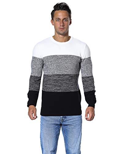 Ninovino Men's Long Sleeve Sweater Crewneck Contrast Colors Striped Gray - Sweater Trim Crewneck Striped