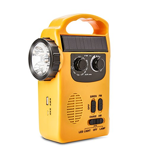 HOSHINE Multi-functional 4-way Powered LED Camping Lantern & Flashlight with AM/FM Radio & Cell Phone Charger, Color Yellow