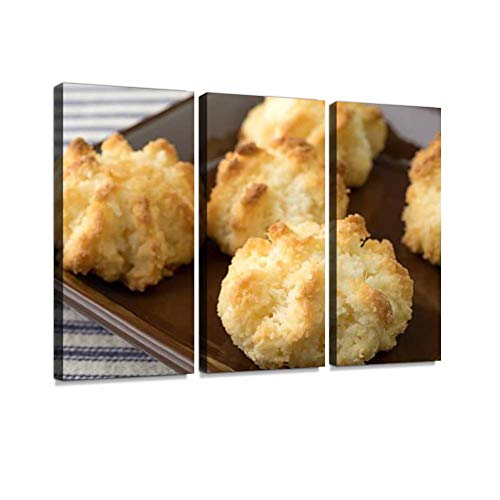 (Close View of Sugar Free Coconut Macaroons in a Dish Print On Canvas Wall Artwork Modern Photography Home Decor Unique Pattern Stretched and Framed 3 Piece)