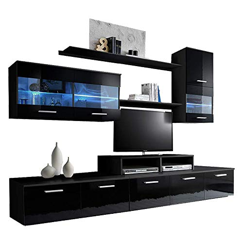 (Paris Contemporary Design 74.8x98.4x17.7-Inch Wall Unit with LED, Black)