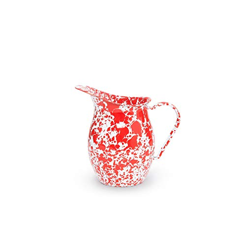 - Enamelware Pitcher, 3 quart, Red/White Splatter