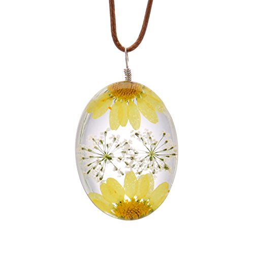 FM FM42 Yellow Queen Anne's Lace Daisy Pressed Flowers Transparent Oval Pendant Necklace FN4177 ()