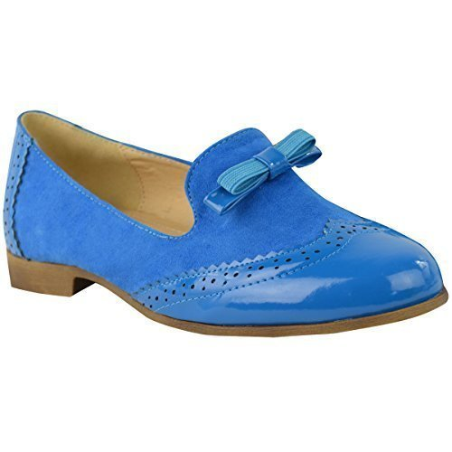 Fashion Thirsty - Mocasines de sintético para mujer Electric Blue Suede Patent: Amazon.es: Zapatos y complementos
