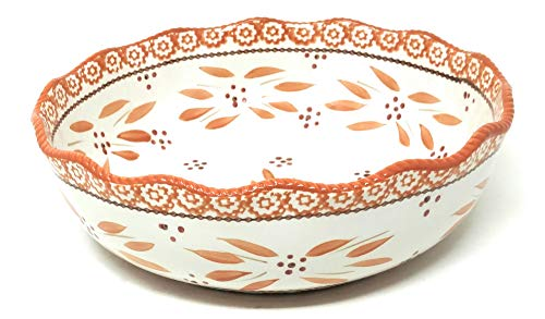 Temp-tations 3 Qt Shallow Serving Bowl, Scalloped Edge (Old World Spice)