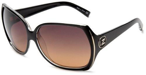 VonZipper Trudie Square Sunglasses,Black & Crystal,One - Zipper Von Sunglass