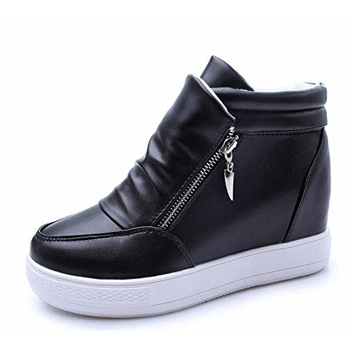 Btrada Kvinna Kil Plattform Dolda Sneakers - Zip Andas Tjock Botten Tillfälliga Gångsportskor Svart