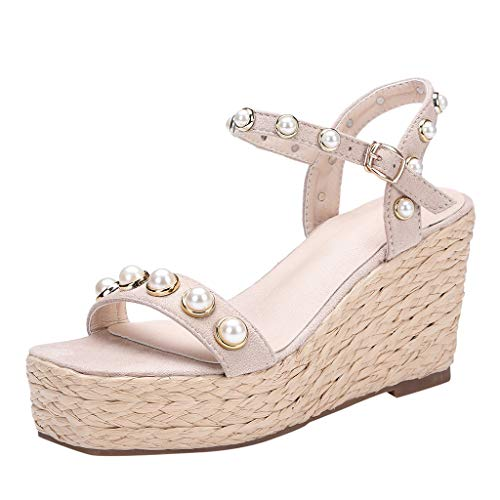 (Open Toe Wedge Shoes,LYN Star❤ღ♕Women's Wedge Sandals Casual Sandals Shoes Summer Ankle Buckle Open Toe Wedges Heels)
