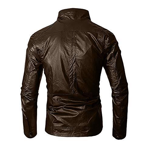 Rétro Blousons Mens Veste Winter Cuir Automne tm Coloré Chaud Moto Homme Vintage Manteaux Marron Pu Épais En Biker l Marron Hiver Jacket Classique Leather ZEwq6A