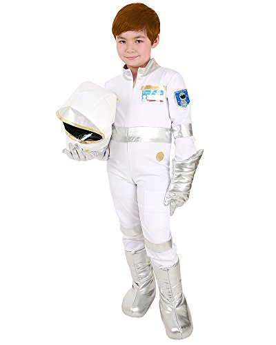 Coskidz Kids White Astronaut Jumpsuit Cosplay Costume Including Helmet,Gloves,Shoes Cover and ID Card (One Size)