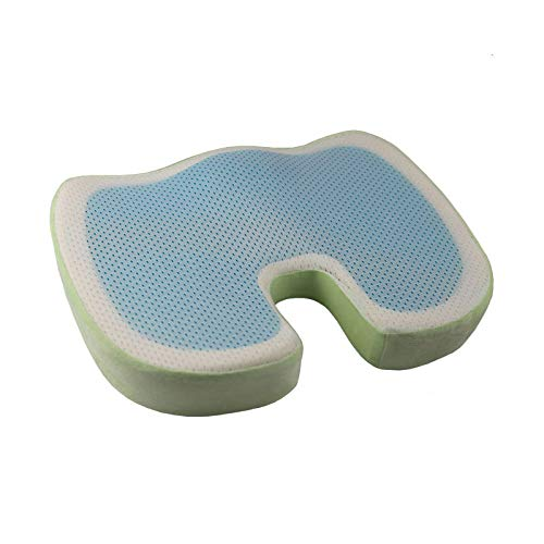 Memory Foam Seat Cushion Car Seat Cushion Comfort Chair Tailbone Pillow Sciatica Pain Relief Cushion Non-Slip Coccyx Orthopedic Comfort Foam Seat Cushion for Lower Back (Green) ()