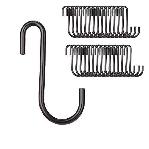 Zeltauto S Shaped Hook Pot Rack Hook Utility Hanger Holder for Kitchenware Utensils Clothes Bags Towels Plants, 30 Pcs (Black)