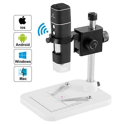 BNISE WiFi USB Microscope for Adults and Students, 500x Magnification with 8 LED Lights and Adjustable Stand for iPhone, Android, Windows & MAC Devices