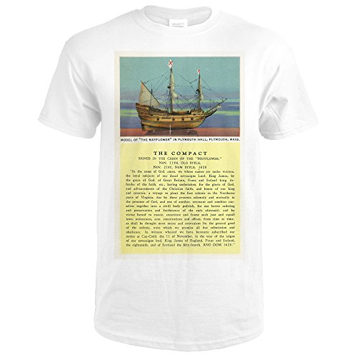 Plymouth, Massachusetts - Mayflower Model, the Compact in Plymouth Hall Scene - Vintage Halftone (Premium White T-Shirt - Plymouth Hall