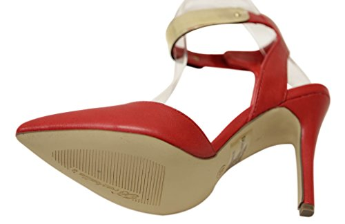 Breckelles Ivana-21 Dames Puntige Teen Slingback Velcro Gouden Enkelband Hakken Sandalen Rood