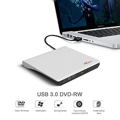 External DVD Drive, Newdy USB 3.0 Burner DVD +RW/CD +RW Drive with Embedded USB Cable for Laptops PC, Desktop, Apple Macbook, Macbook Pro, Macbook Air Support Mac OSX Windows Vista/7/8/10 (White) by Newdy (Image #2)